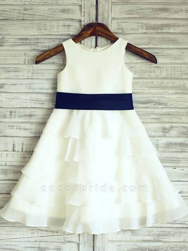 A-Line Knee Length Wedding / First Communion Flower Girl Dresses - Chiffon / Satin Sleeveless Scoop Neck With Sash / Ribbon