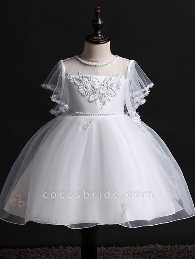Princess Midi Wedding / Birthday Satin / Tulle Sleeveless Jewel Neck With Bow(S) / Pearls / Beading