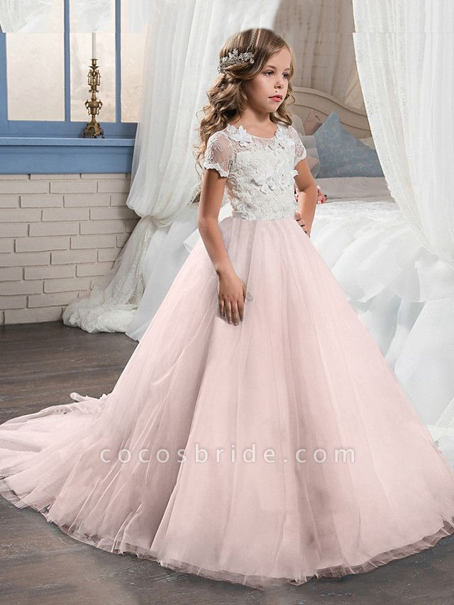 Ball Gown Sweep / Brush Train Wedding / Party Flower Girl Dresses - Tulle Short Sleeve Jewel Neck With Bow(S)