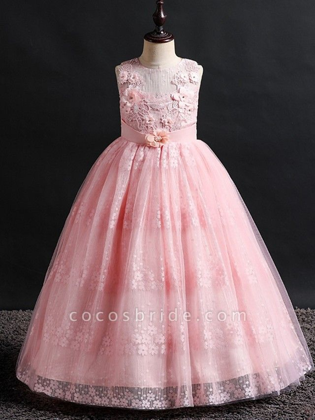 Princess / Ball Gown Floor Length Wedding / Party Flower Girl Dresses - Lace / Tulle Sleeveless Jewel Neck With Bow(S) / Appliques