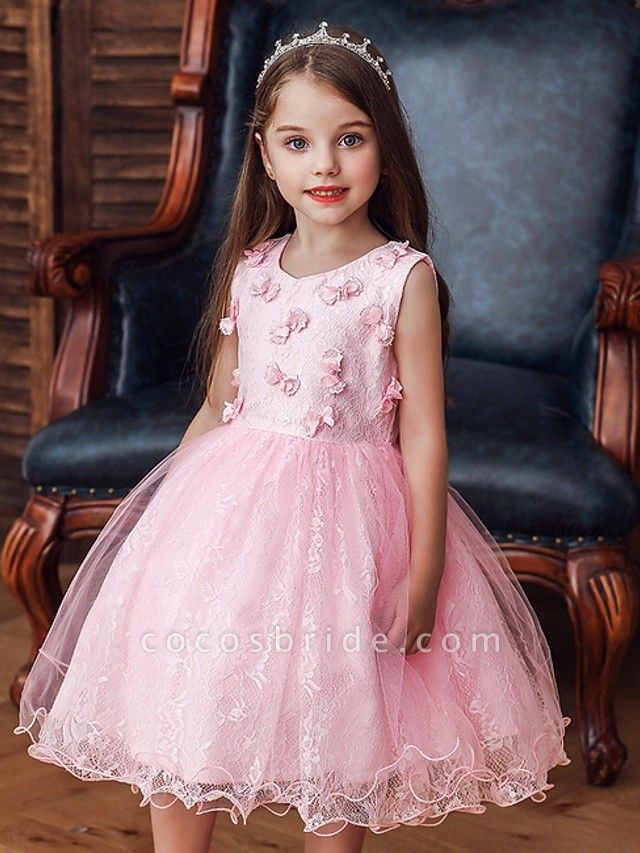 Princess / Ball Gown Knee Length Wedding / Party Flower Girl Dresses - Tulle Sleeveless Jewel Neck With Bow(S) / Appliques
