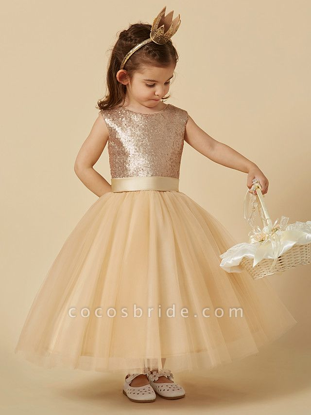 Princess Ankle Length Pageant Flower Girl Dresses - Tulle / Sequined Sleeveless Jewel Neck With Sash / Ribbon / Bow(S)
