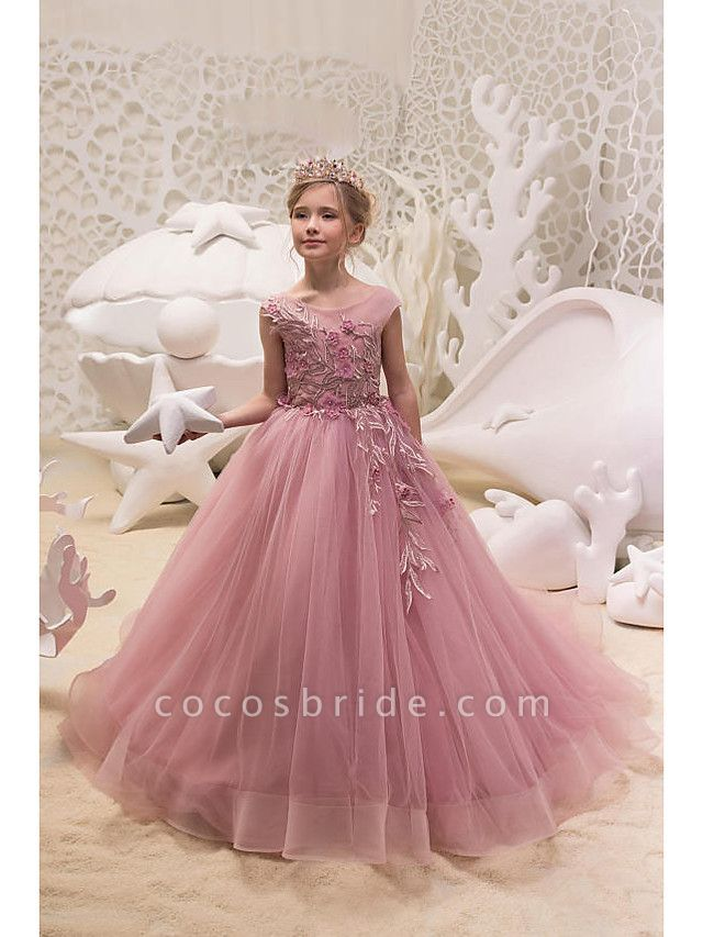 Princess / Ball Gown Sweep / Brush Train Wedding / Party Flower Girl Dresses - Tulle Cap Sleeve Jewel Neck With Appliques