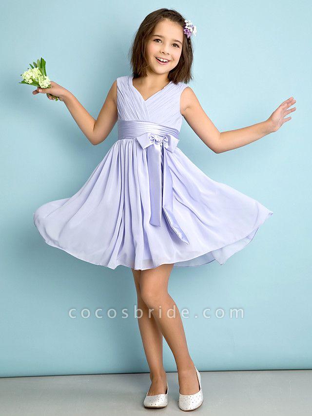 A-Line V Neck Knee Length Chiffon Junior Bridesmaid Dress With Bow(S) / Criss Cross / Natural