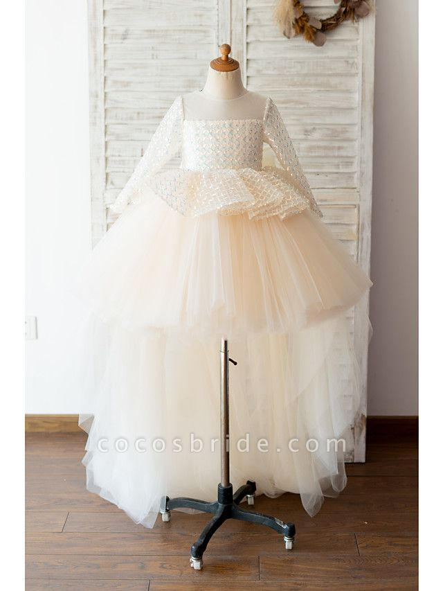 Ball Gown Sweep / Brush Train / Knee Length Wedding / Birthday Flower Girl Dresses - Tulle / Sequined Long Sleeve Jewel Neck With Bow(S)