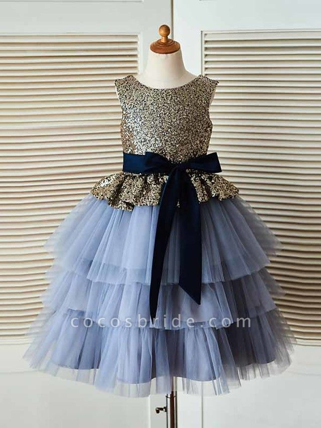 Ball Gown Tea Length Pageant Flower Girl Dresses - Tulle / Sequined Sleeveless Jewel Neck With Sash / Ribbon