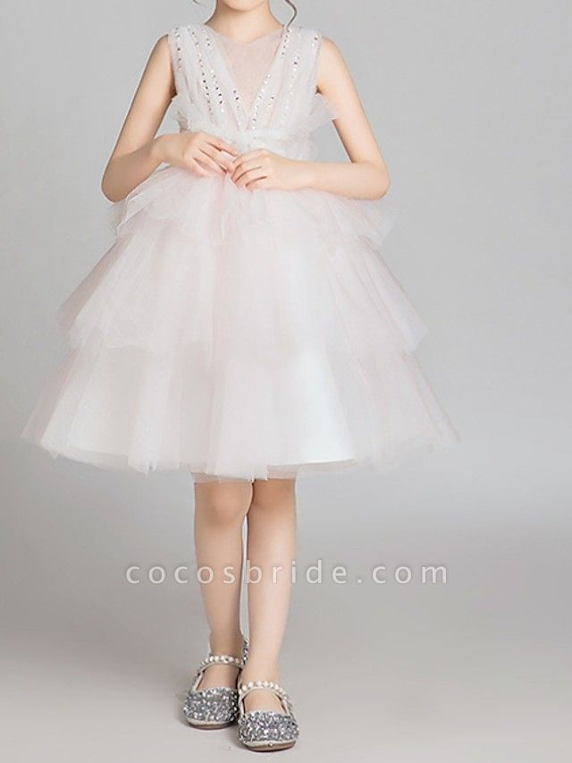 Princess Knee Length Pageant Flower Girl Dresses - Lace Sleeveless Jewel Neck With Bow(S)