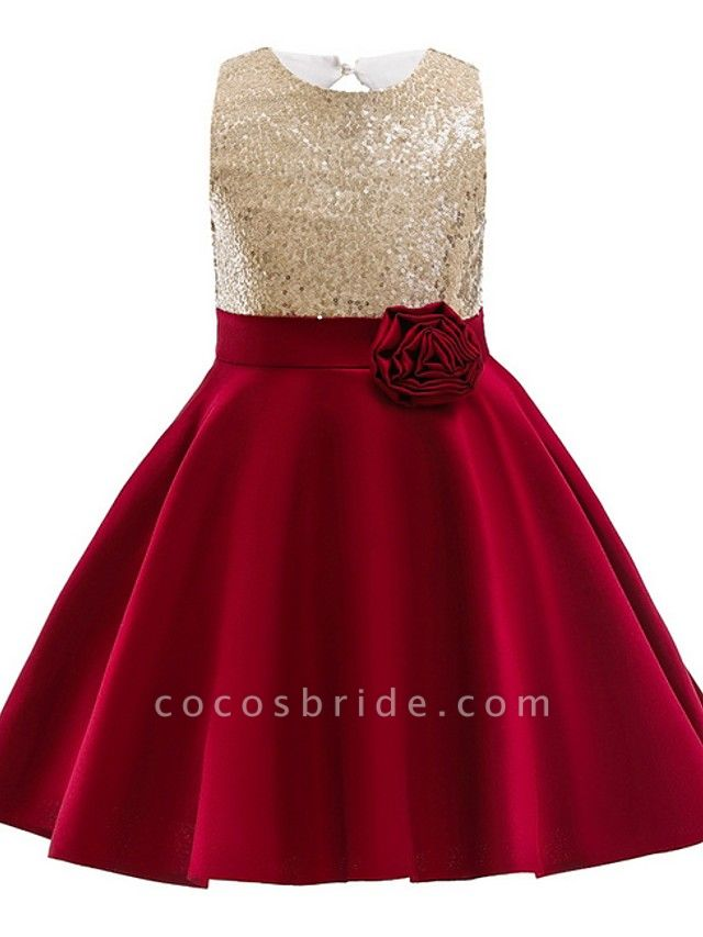 Ball Gown Knee Length Wedding / Party Flower Girl Dresses - Satin Chiffon Sleeveless Jewel Neck With Appliques / Paillette