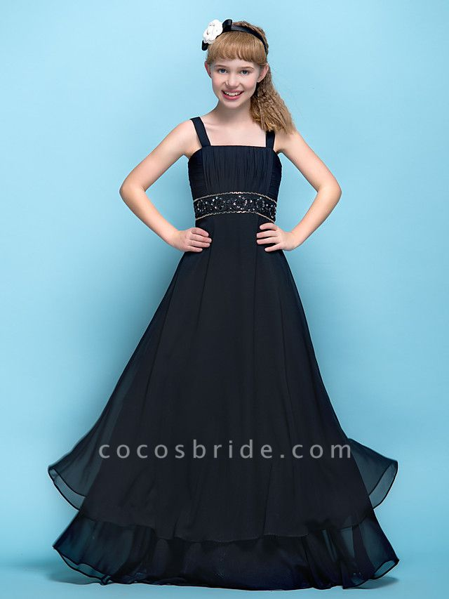 A-Line Straps Floor Length Chiffon Junior Bridesmaid Dress With Criss Cross / Ruched / Beading / Empire