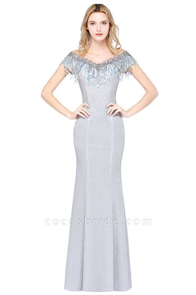 Elegant Jewel Short Sleeves Sequins Evening Dress with Tassels