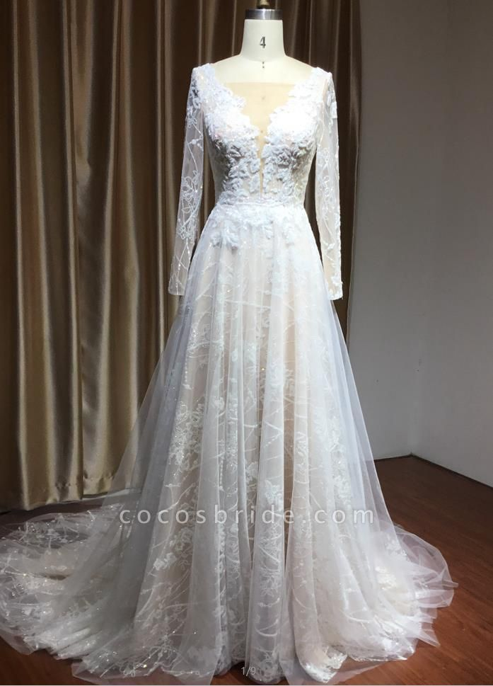 CPH230 Sheer Tulle Long Sleeve A-line Illusion Lace Wedding Dress