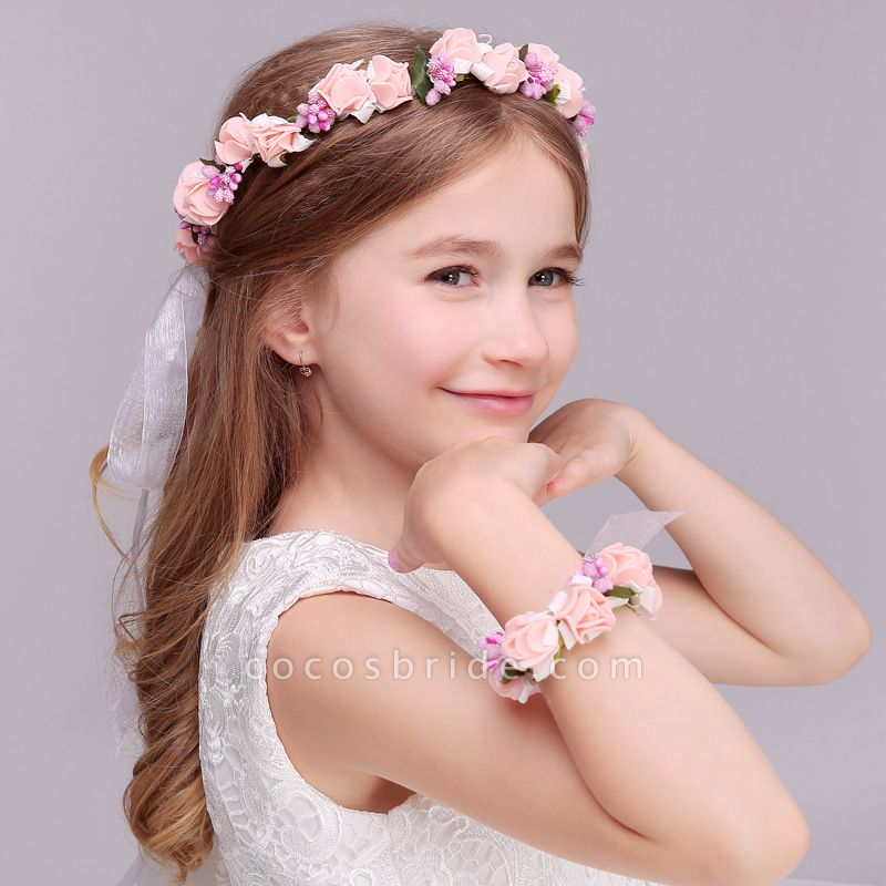 Silk Flower Ribbon Headbands with Wrist Corsage