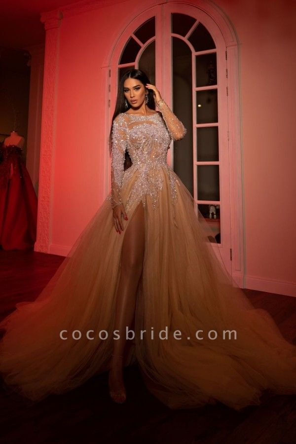 Extravagant Princess Long Sleeves Tulle Open Back Prom Dress with Slit