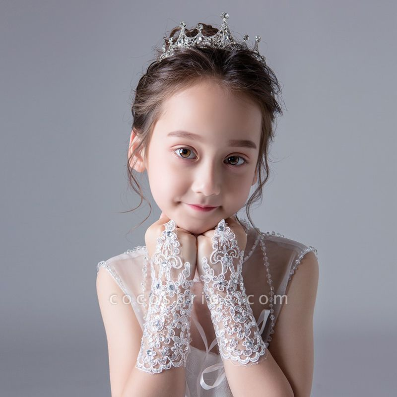 Lace With Lace Crystal Wrist Length Glove