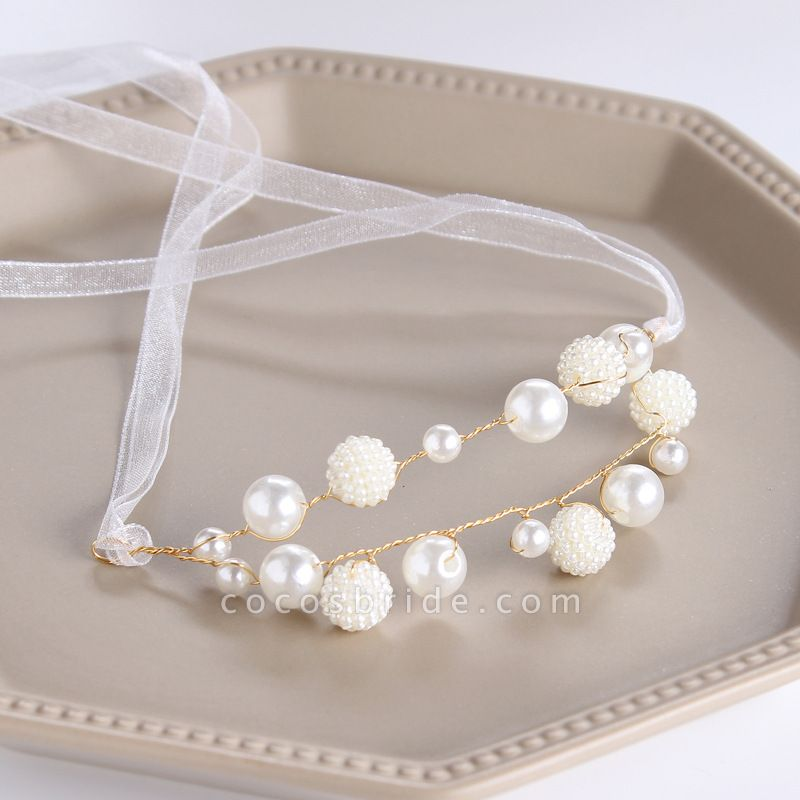 CPA2919 Pearls Ribbon Flower Girl Wristband