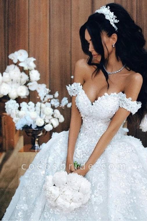 Off The Shoulder Appliques Luxury Wedding Dresses Princess Ball Gown Wedding Dress