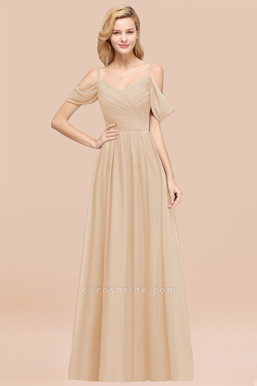 A-Line Chiffon V-Neck Spaghetti Straps Short-Sleeves Floor-Length Bridesmaid Dresses with Ruffles
