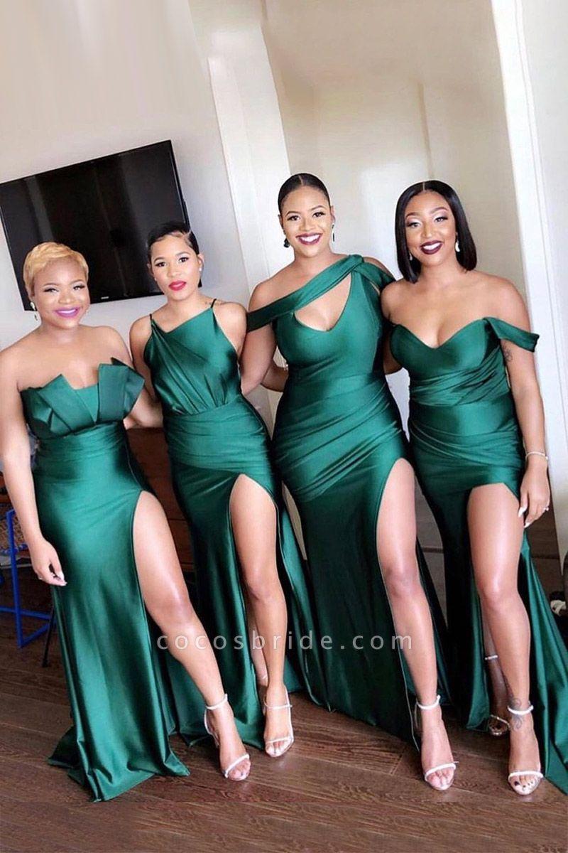 Dark Green Mermaid Side Split Bridesmaid Dresses Mixed Styles