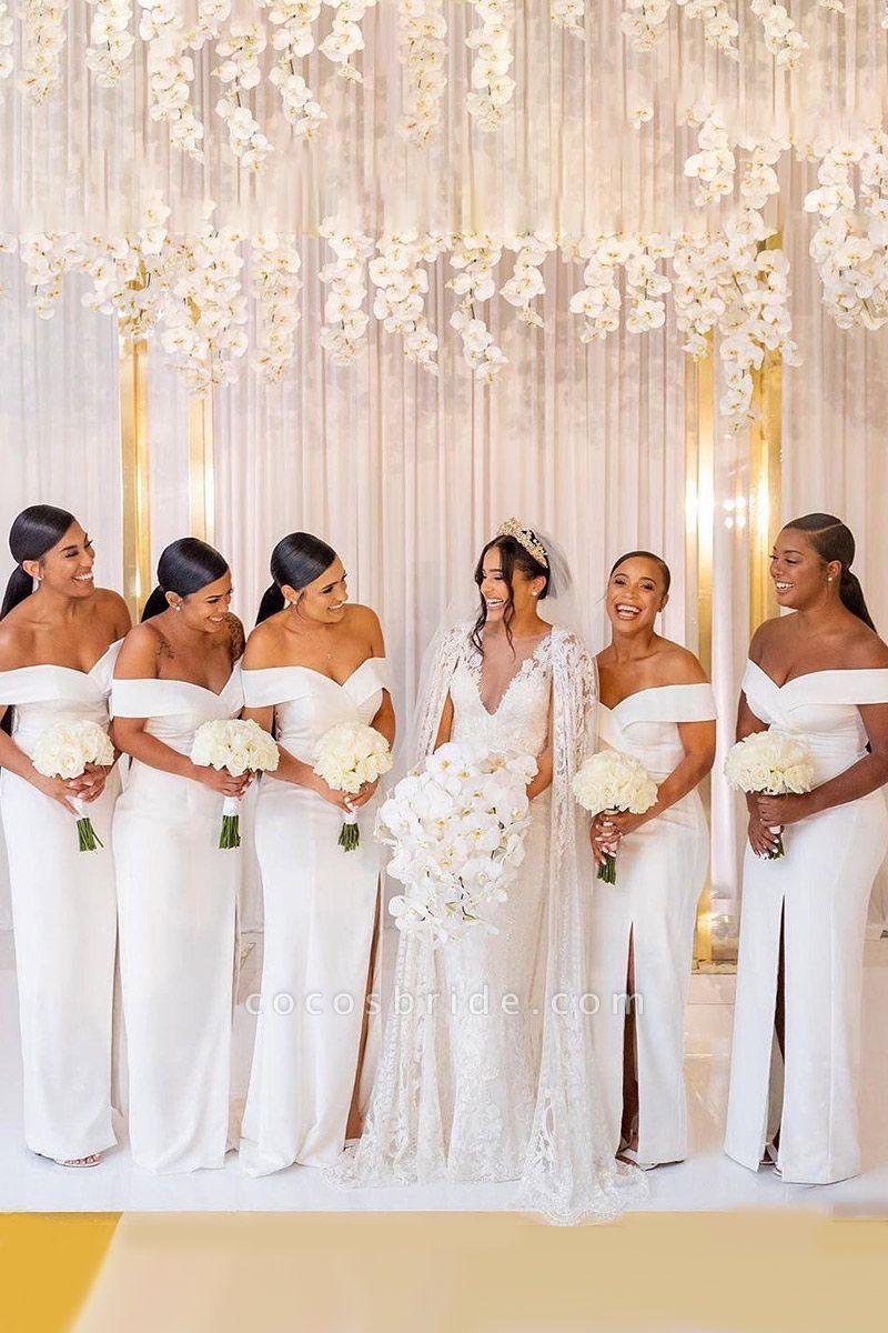 White Simple Off-the-shoulder V-neck Slit Bridesmaid Dresses