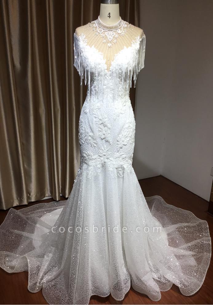 CPH231 Shimmy Mermaid High Neck Beadings Tassel Wedding Dress