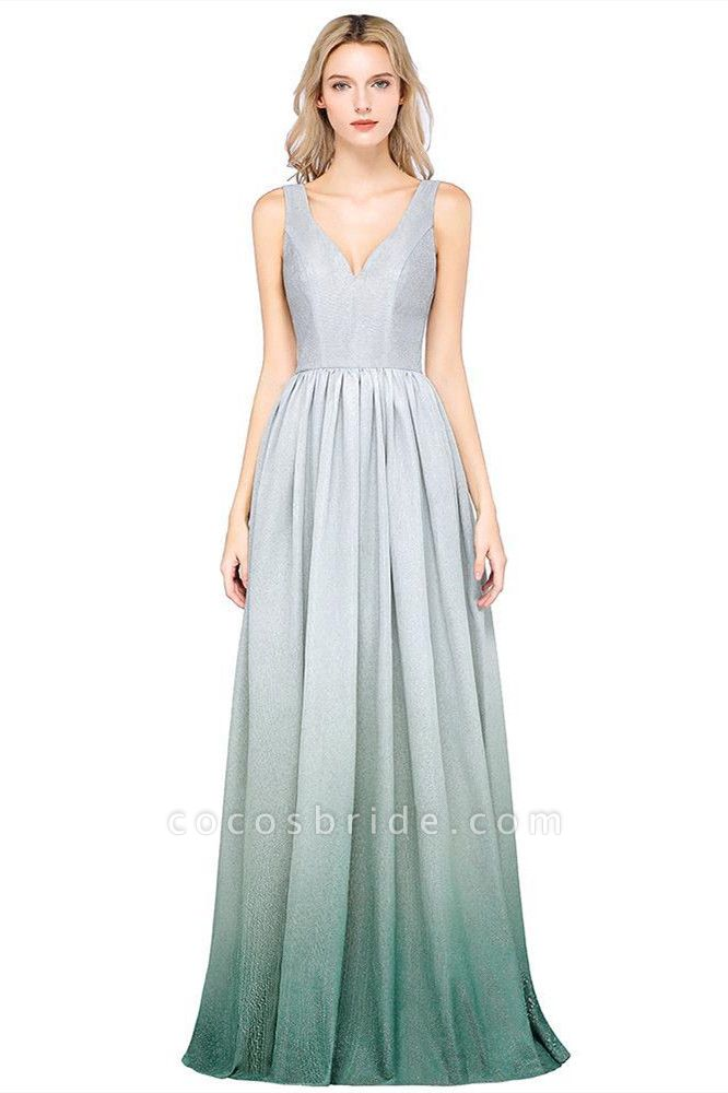 A-line Ruffles V-Neck Long Evening Dress