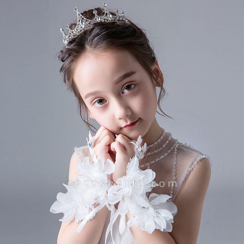Lace Crystal Flower Wrist Length Glove