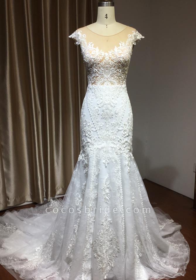 CPH232 Mermaid Cap Sleeve Sheer Tulle Appliques Wedding Dress