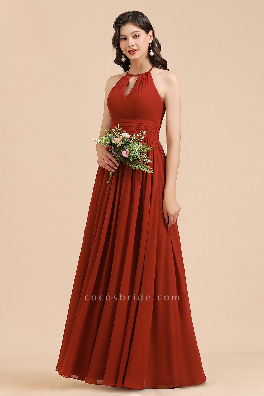 BM2004 Halter A-line Pleated Chiffon Bridesmaid Dress