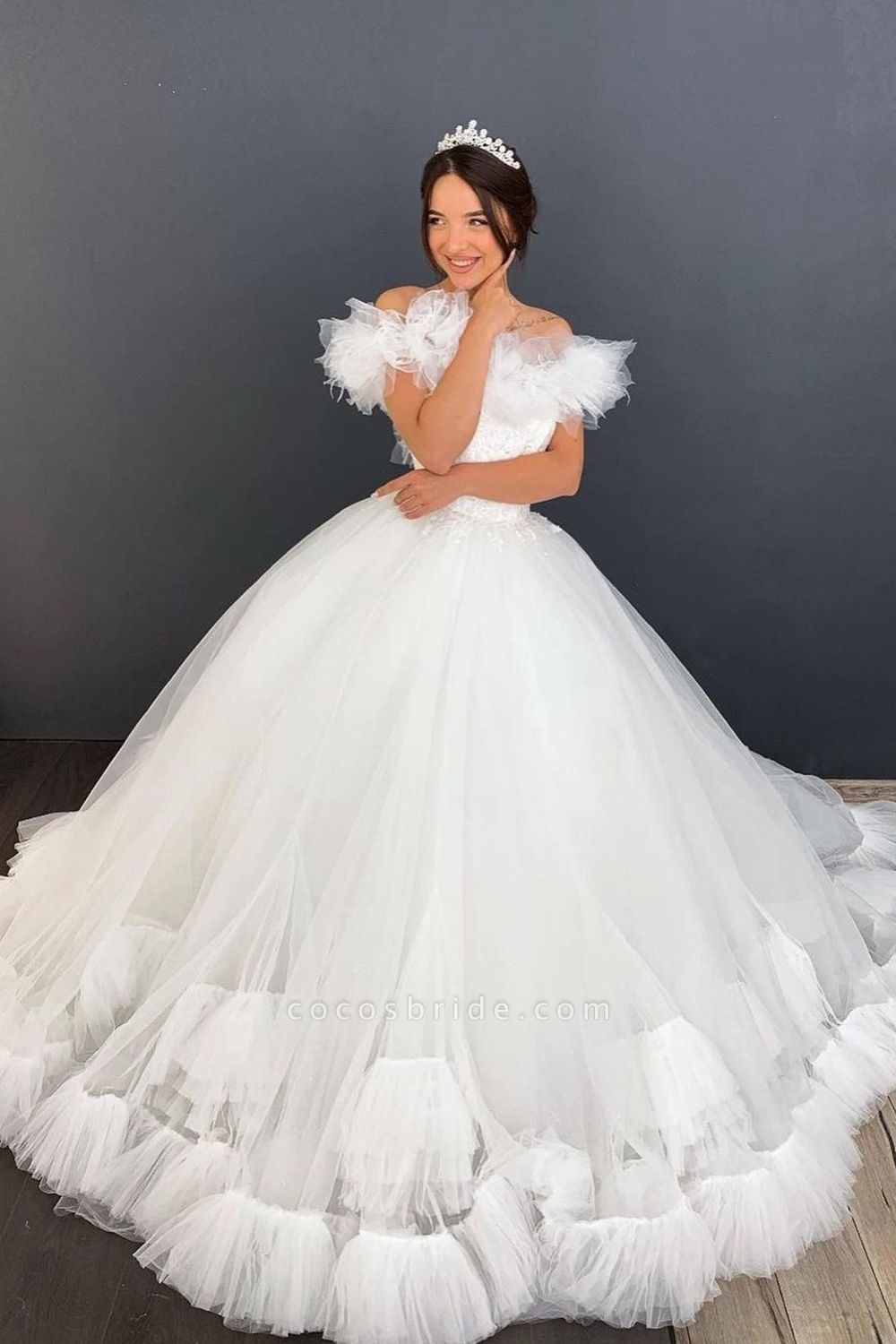 BC5616 Tulle Ruffles Pleated Off The Shoulder Ball Gown Wedding Dress
