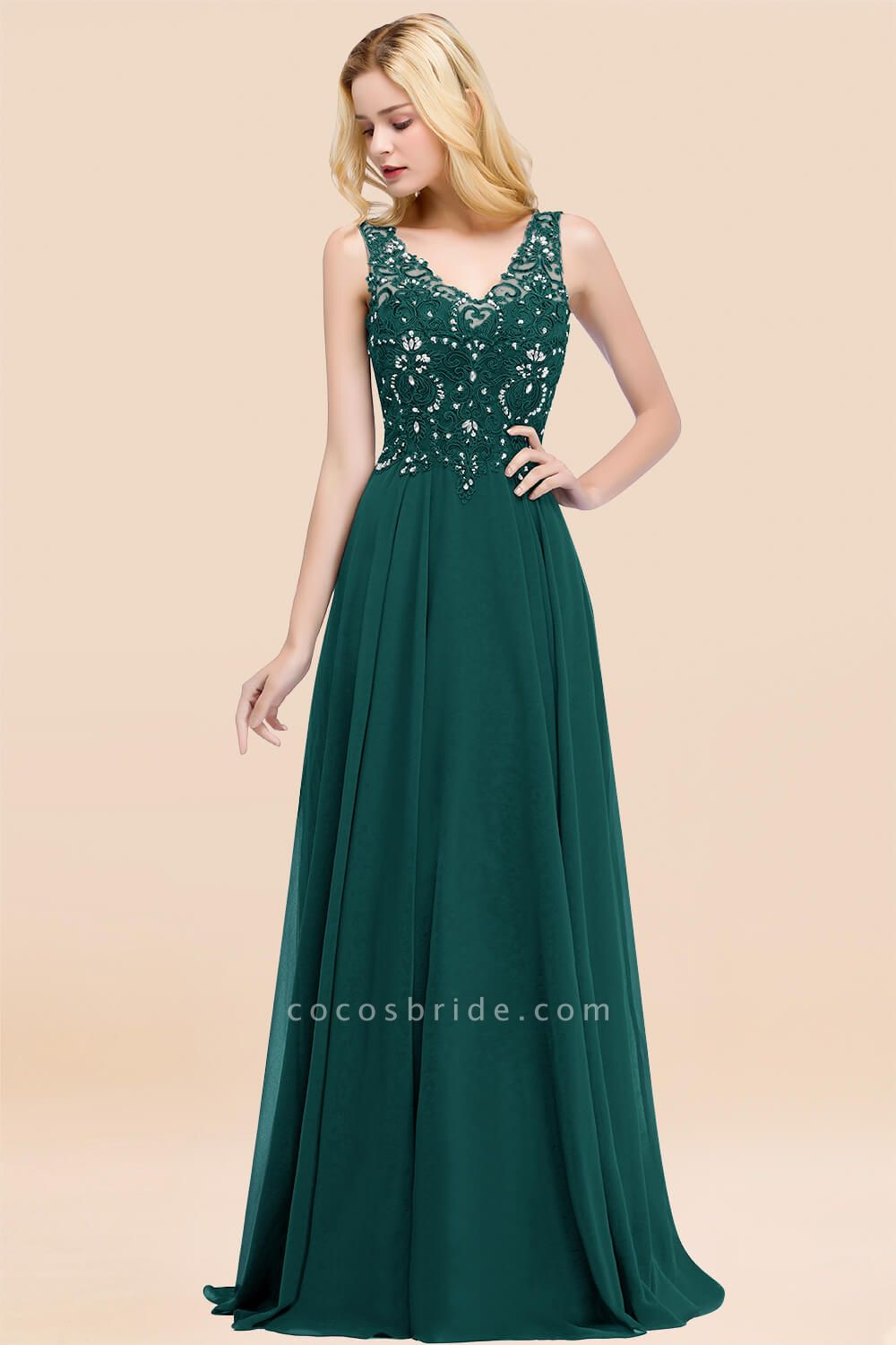 A-line Chiffon Appliques V-neck Sleeveless Floor-Length Bridesmaid Dresses with Crystals
