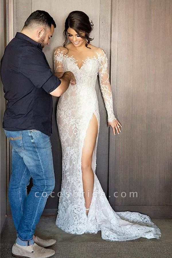 High Slit Lace Mermaid Wedding Dresses with Detachable Skirt