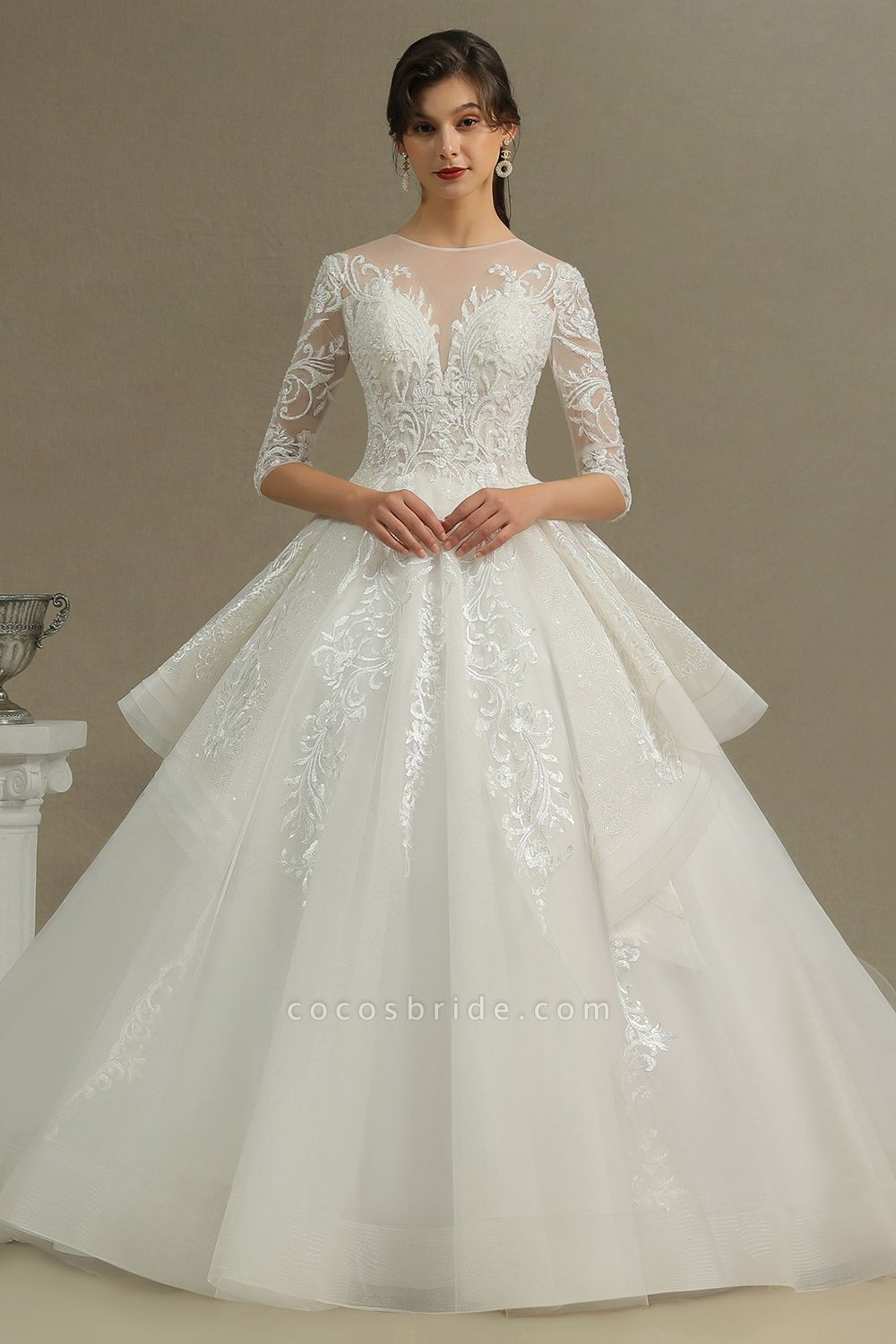 CPH227 Luxury Floral Lace Bridal Gown Crew Neck Long Sleeves Aline Luxury Wedding Dresses