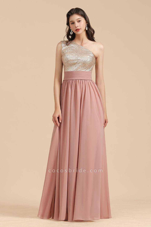 BM2010 Sequins A-line One Shoulder Pink Bridesmaid Dress