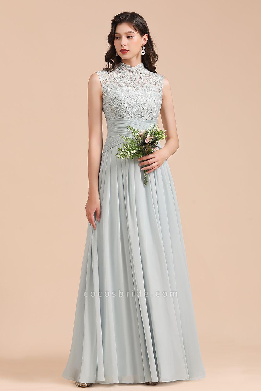 BM2001 A-line High Neck Lace Sleeveless Long Bridesmaid Dress