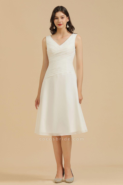 BM2005 Simple A-line Straps Ruffles Short Bridesmaid Dress