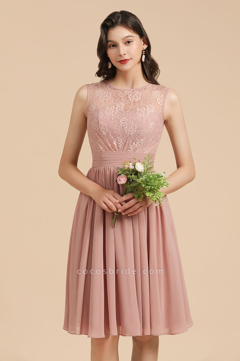 BM2008 Simple Lace Straps Knee Length Short Bridesmaid Dress