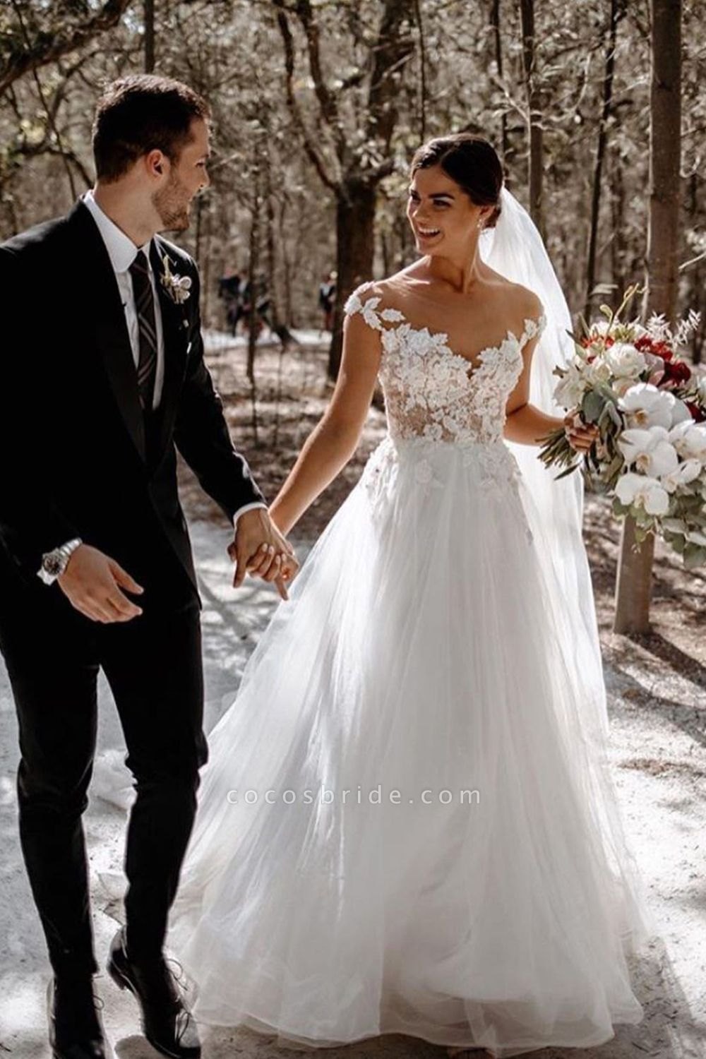 BC5612 Sweetheart Cap Sleeve Lace A-line Wedding Dress