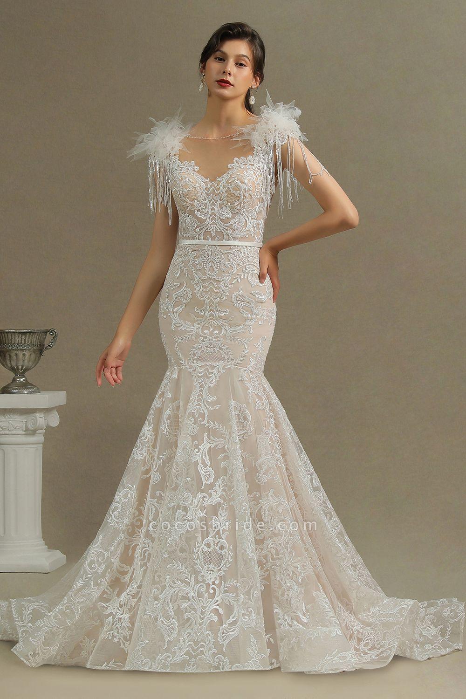 CPH233 Mermaid Further Tassel Appliques Open Back Wedding Dress