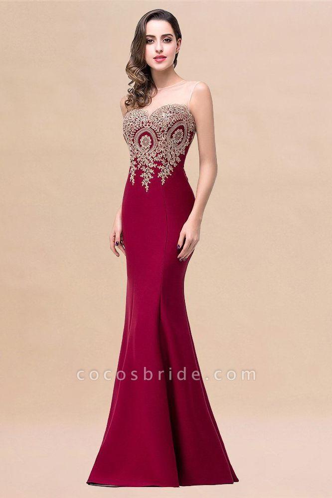 Mermaid Floor-Length Sheer Prom Dresses with Rhinestone Appliques