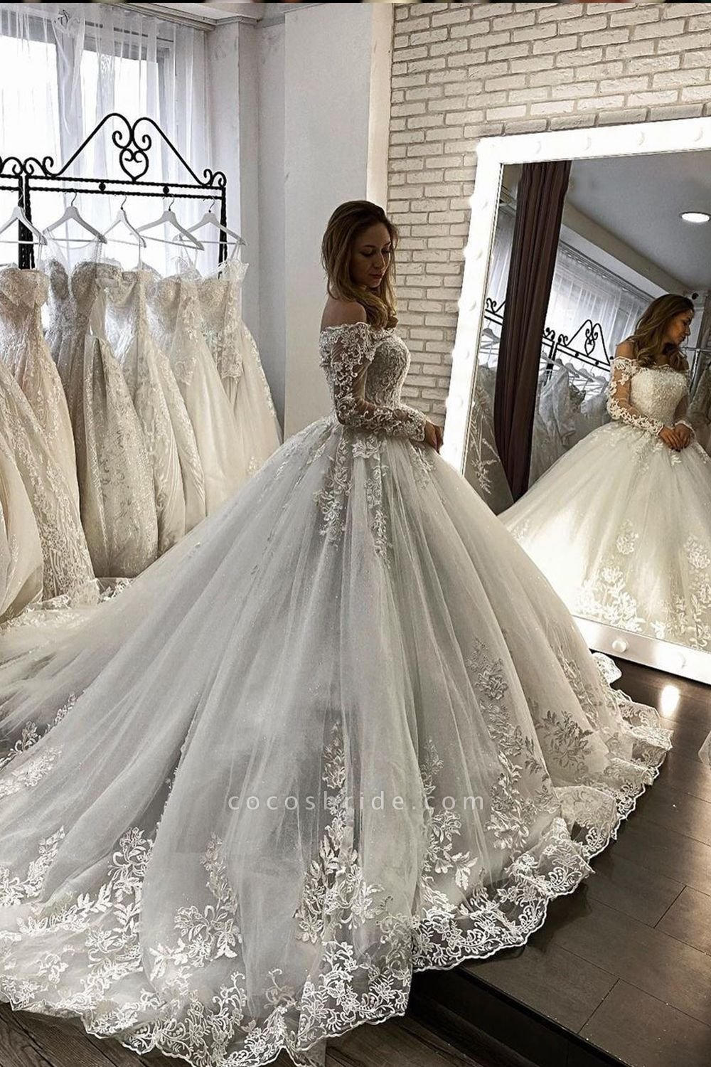 BC5613 Off The Shoulder Long Sleeve Illusion Ball Gown Wedding Dress