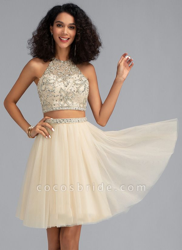Simple A-Line Knee-Length Chiffon Cocktail Dress with Beading Sequins