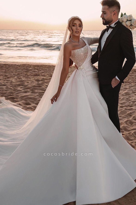 BC5617 One Shoulder Long Sleeve Sequins A-line Wedding Dress