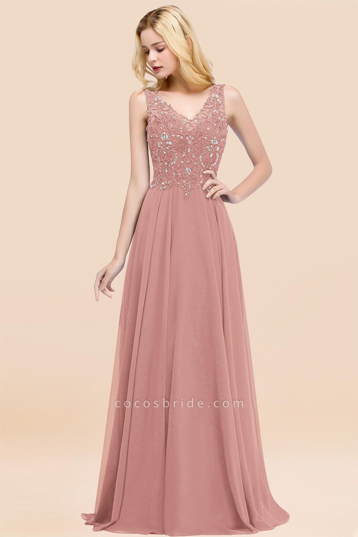 BM0324 Dusty Rose Lace V-Neck Long Bridesmaid Dresses With Appliques