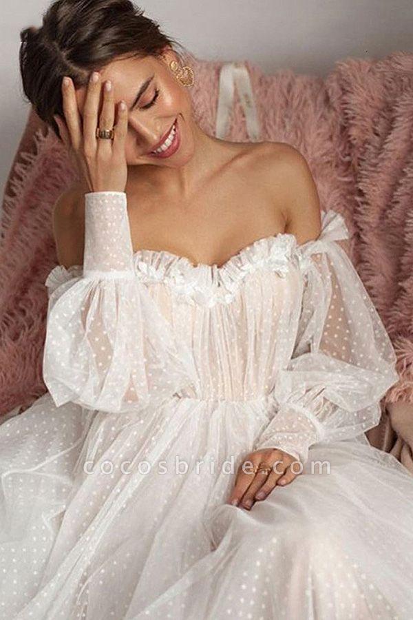 Off shoulder Puffy Sleeve Dot Tulle Wedding Dresses
