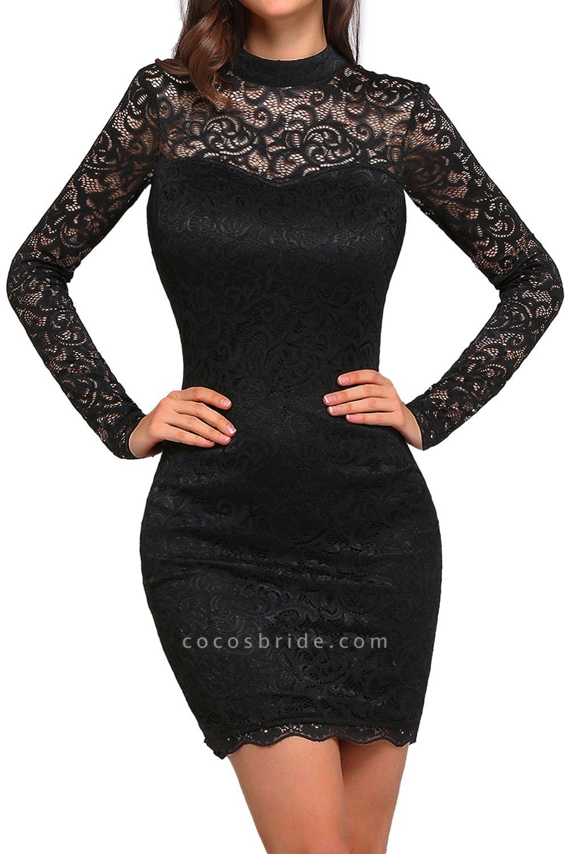 ARYANNA | Sheath High Neck Short Black Lace Cocktail Dresses