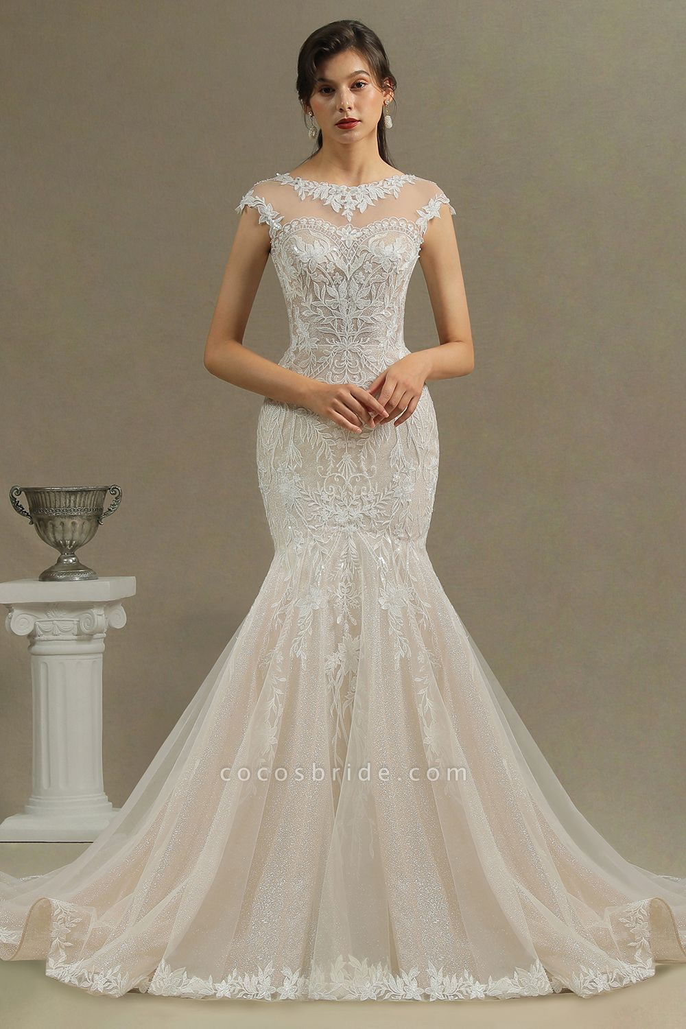 CPH234 Gorgeous Mermaid Lace Cap Sleeve Sheer Tulle Neckline Wedding Dress