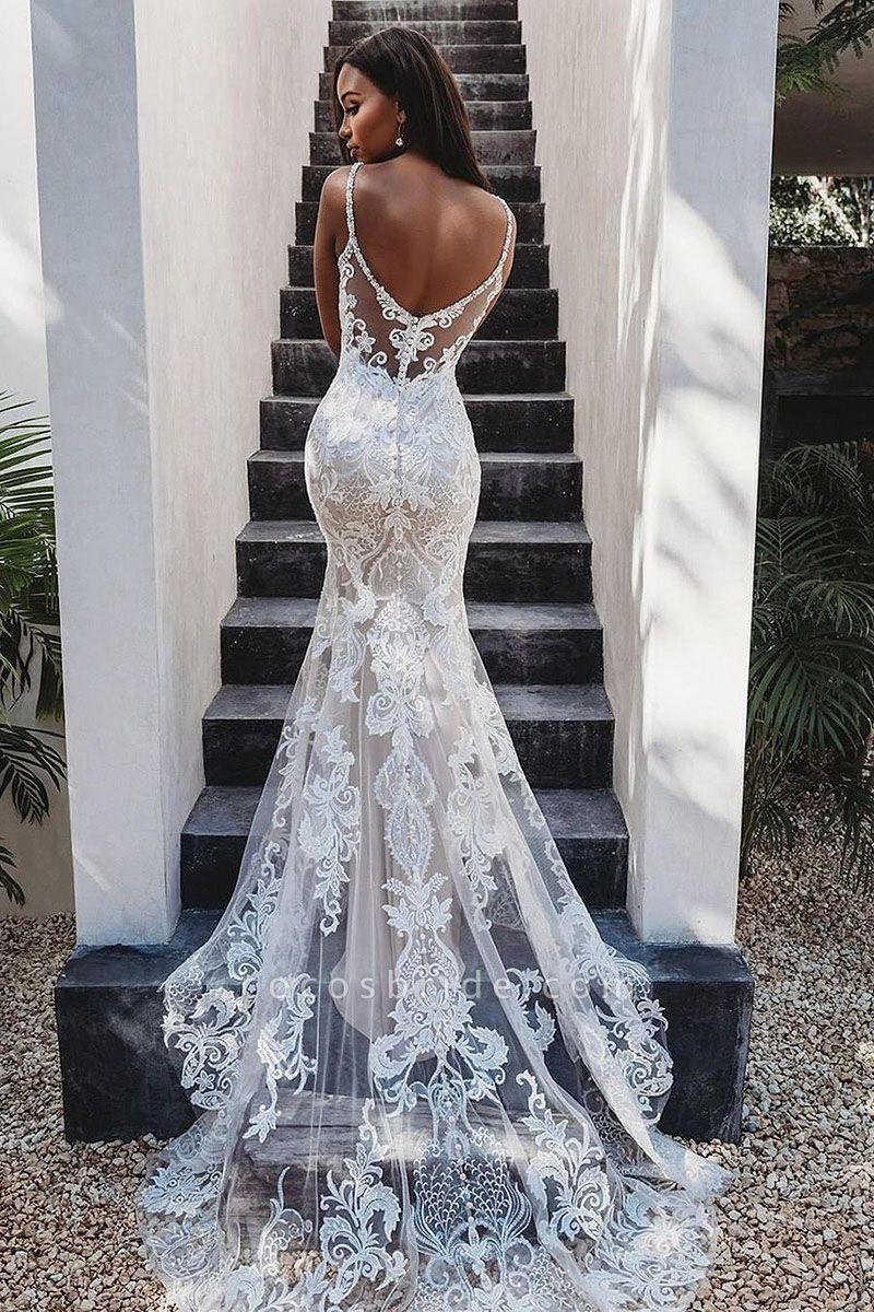Elegant White Mermaid Backless Lace Wedding Dresses