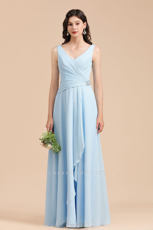 BM2002 Sky Blue Ruffles Straps A-line Beads Bridesmaid Dress
