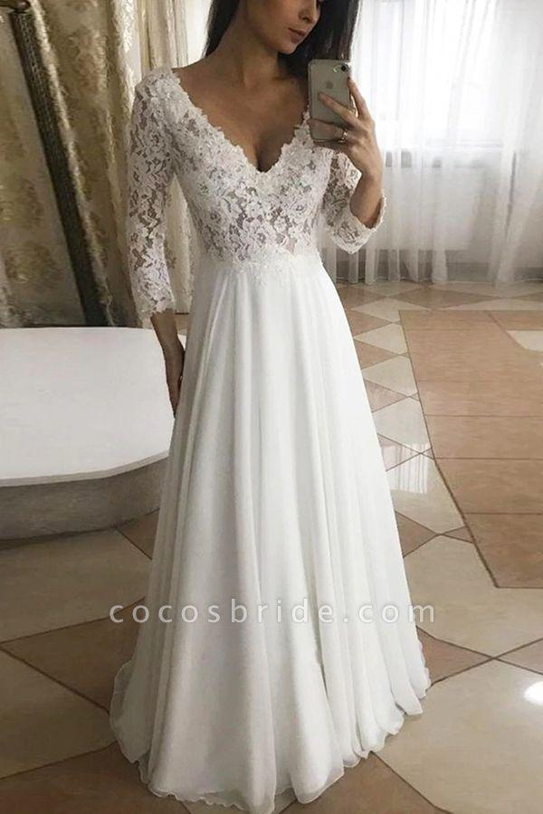BC5755 Floeal Lace Long Sleeve V-neck A-line Wedding Dress