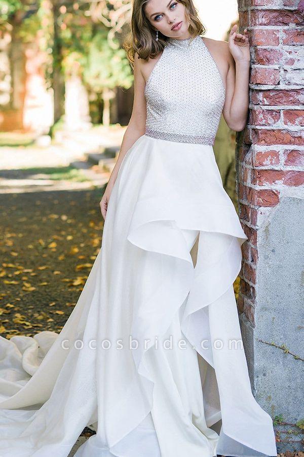 BC5739 Halter A-line Beadings Belts Wedding Dress